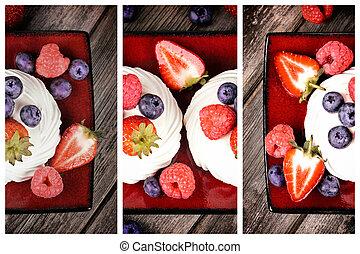verano, fruta, tríptico, fuente