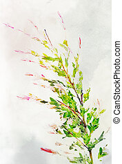 Watercolored variegated willow - Illustration of watercolor...