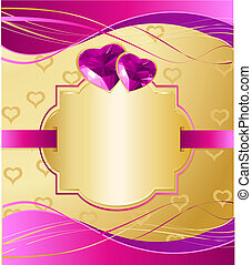 Valentine Card - Golden Valentine's Day background with...