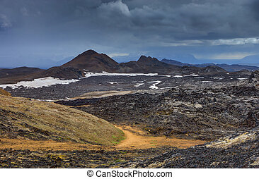 Landscape around Mount Krafla - Volcanic Landscape around...