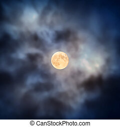 Night view at full moon through moving clouds - Night view...