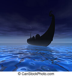 VIKING SHIP - A Viking Ship on a voyage in clear waters of...