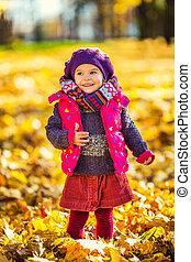 Cute little girl in the autumn park