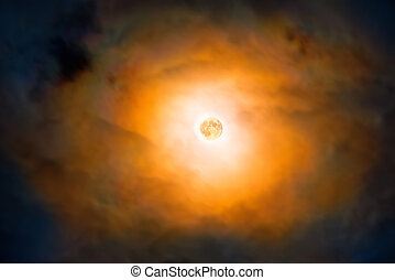 Night view at the full moon through moving clouds - Night...