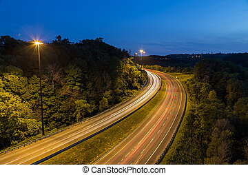 Bendy Highway at Night - Bendy Highway road at night with...