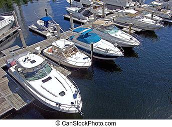 Miami Beach Marina - Angled overhead view of boats docked at...