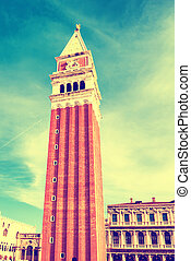 San Marco campanile, bell tower of Saint Mark cathedral on...