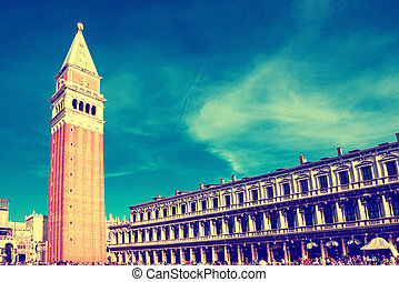 San Marco square with Campanile and Doge Palace - Tourists...