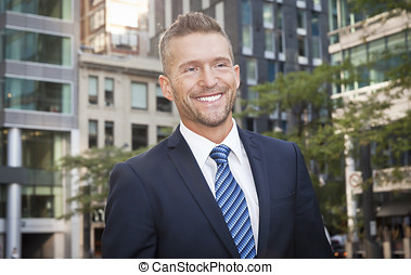 Mature Businessman Smiling - Tie, Fashion Model, Park - Man...