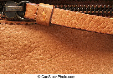 Zip on leather, close-up