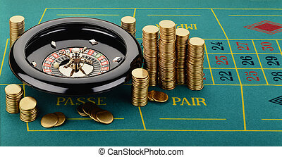 Roulette with Casino Tokens Fiches - Toy Roulette with chips...