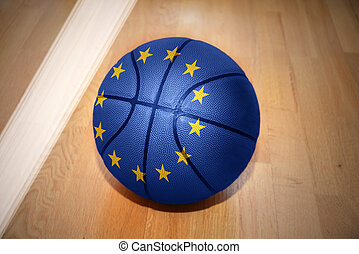 basketball ball with the national flag of european union...