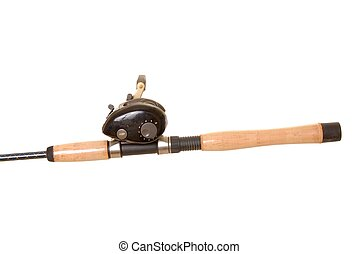 Fishing Rod and Reel - Isolated close-up of a fishing rod...