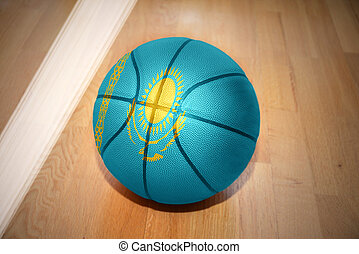 basketball ball with the national flag of kazakhstan lying...
