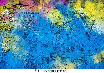 Rainbow wall - Old cracking wall texture background, painted...