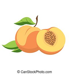 Peach and cut - Peach - a fruit with leaves and cut into...