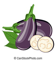 Eggplant - the flowers, the whole fruit and cut into pieces.