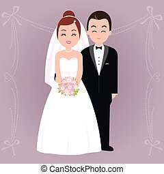 Bride and groom - Vector Illustration of a bride and a...