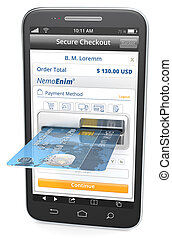 Mobile Payments. - Black Smartphone with Credit Card Slot.