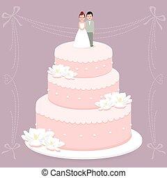Wedding cake - Vector Illustration of a stylish wedding cake...