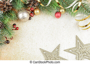 Christmas background - Christmas composition with fir...