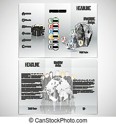 Vector set of tri-fold brochure design template on both sides. Professional business team standing over gray background with timeline and world globe. Infographic pattern