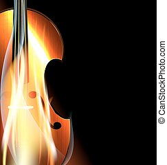 burning fiddle - on black background is the abstract burning...