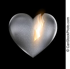 stone burning heart - a dark background and a large burning...