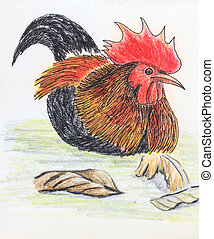 jungle fowl bird drawing - The original drawing of birds on...