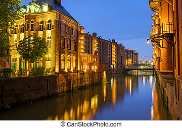 Canal in the Speicherstadt at night - Canal in the...