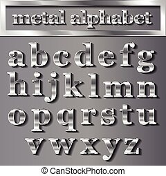 vector silver metallic letters with shadows on grey background