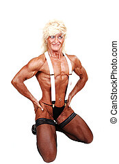 Bodybuilding woman. - A blond muscular bodybuilding woman...