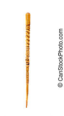 Fancy Wooden cane - Fancy wooden cane with carved designs on...