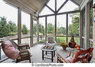 Screen porch with patio view - Screen porch in luxury home...