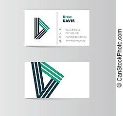 business card for letter D