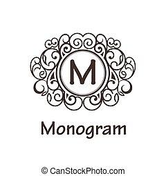 Vintage Emblem Template - Simple and elegant monogram design...