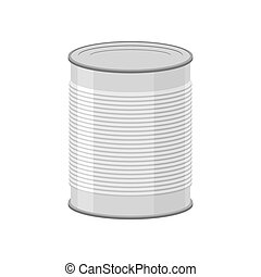 Cans for canned food on white background Tin vector...