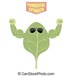 powerful spinach A strong plant with big muscles Green,...