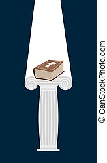 Bible is pedestal in dark. Divine light illuminates a thick book. Gift of heaven. Vector illustration