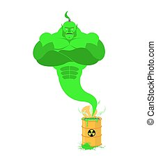 Acid Genie of barrels of toxic waste. Green Magic spirit....