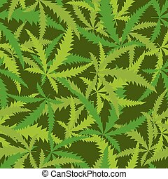 Cannabis leafs seamless pattern. Vector background of narcotic plants