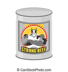canned meat  beef. Canned food from a serious and strong cow. Steel Bank stew. Vector illustration of canned meat.