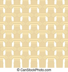 Greek Column seamless pattern. Vector background of elements of ancient architecture.