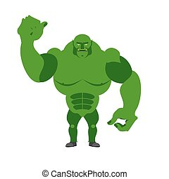 Angry Green Monster. Scary Goblin big and strong on a white background. Fantastic, fantastic creature