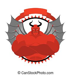 Dreaded, Scary Satan logo for a sports team or sports club. Red demon with large muscles. Vector emblem