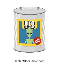 Canned UFO Tin can alien Vector illustration