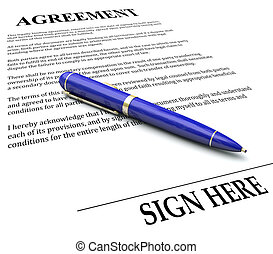 Agreement Pen Signing Signature Line Legal Document -...