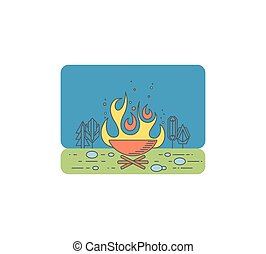 Campfire graphical illustration, tourist fire lineart