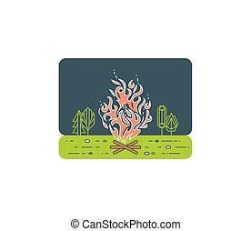 Campfire graphical illustration, tourist fire lineart.