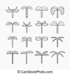 Graphical palm tree set